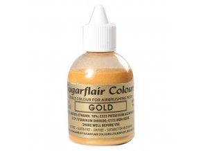 ZLATÁ TŘPYTIVÁ barva do airbrushe Sugarflair