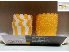 Cukrářské košíčky žluto-bílé (337077) 12 kusů