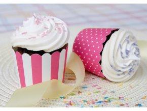 Cukrářské košíčky 12ks 337053 růžovo-bílé