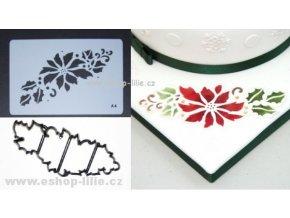 Vánoční růže / patchwork + stencil