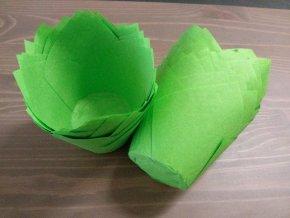 Zelené cukrářské tulipánové košíčky 50ks