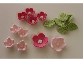 Růžové cukrové květiny s lístky 384 Culpitt 16ks