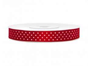 Červená stuha s bílým puntíkem TSK12-007-08