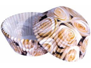 Bílé růže cukrářské košíčky 50ks