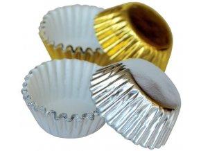 Hliníkové košíčky na pralinky 50 ks P-904 zlatý/stříbrný