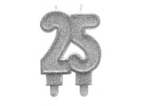 25 Stříbrná třpytivá svíčka k jubileu C-61