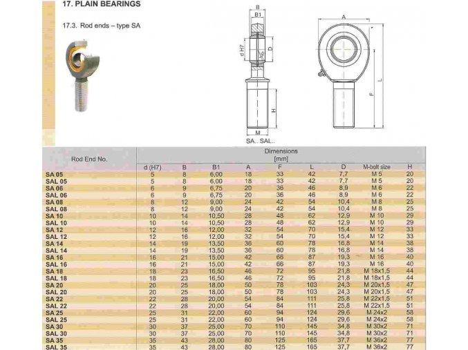 Kloubová hlavice - UNIBAL SAL 05 T/K