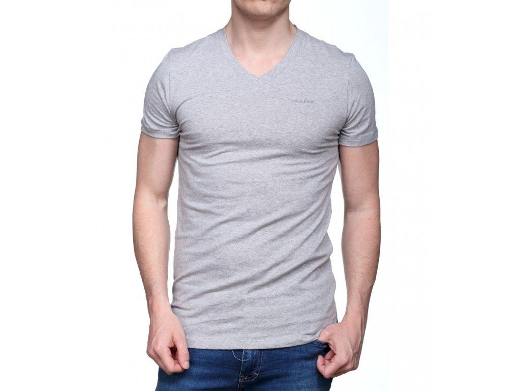 Pánské tričko Calvin Klein s véčkovým výstřihem šedé