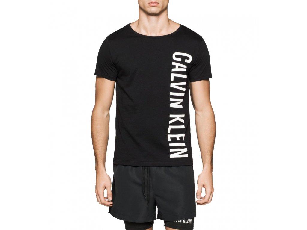 Pánské tričko Calvin Klein - černé  Rounded V Neck km0 KM00017
