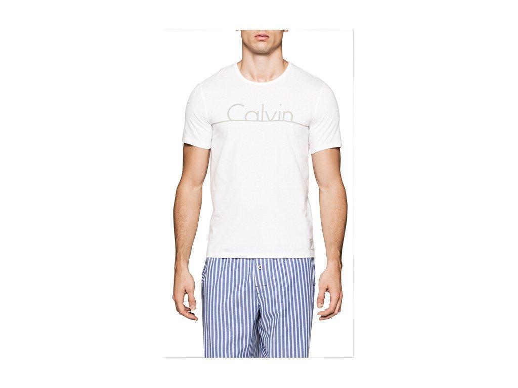Pánské tričko Calvin Klein bílé s šedým logem nm1353e 100