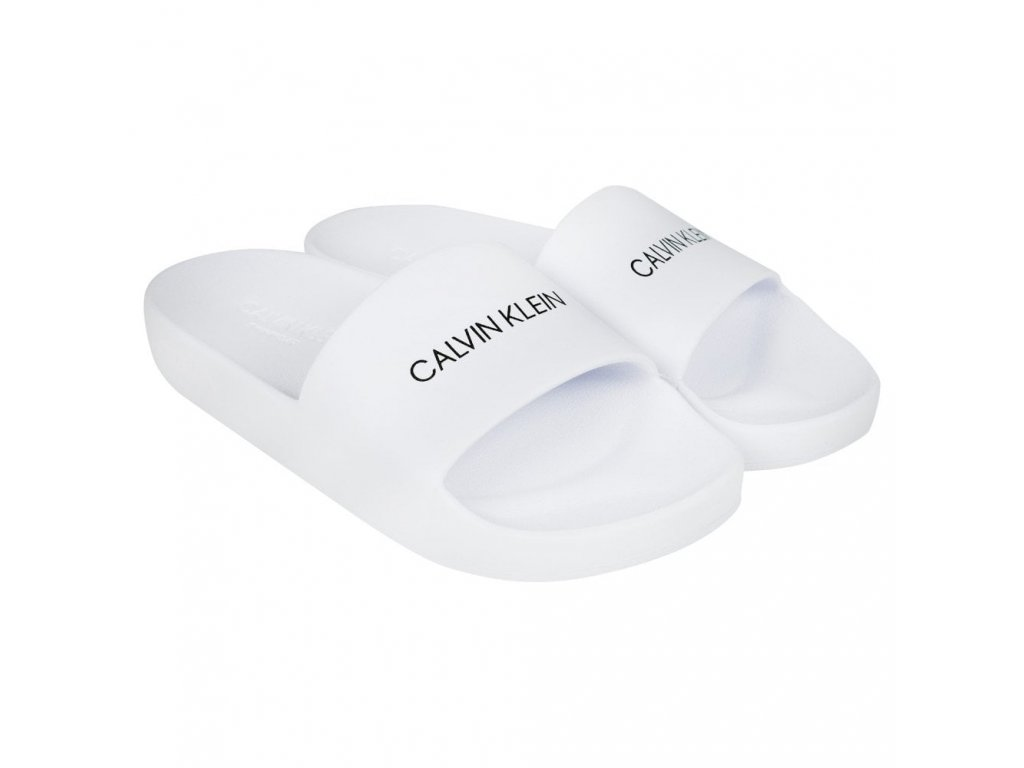"""Calvin Klein Dámské Pantofle bílé KK0KK00035 100 (""""holčičí cukle"""")"""