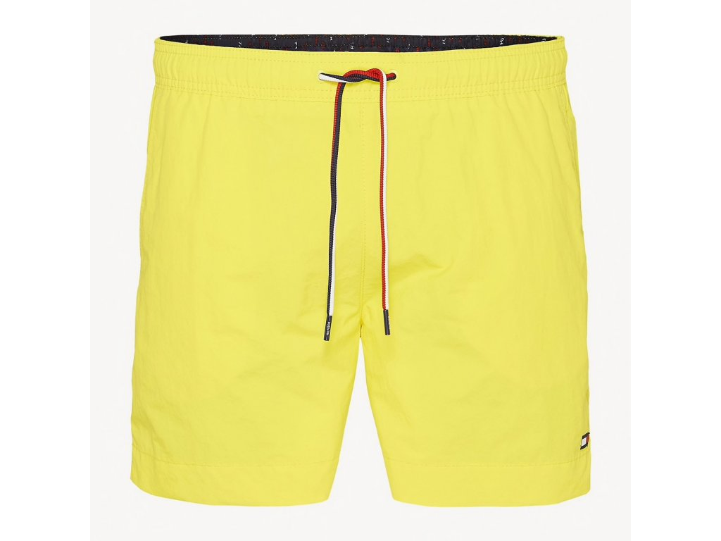Tommy Hilfiger pánské plavky střední délka nohavic - žluté (UM0UM01081 700 medium drawstring TRI-COLOUR DRAWSTRING SWIM SHORTS )