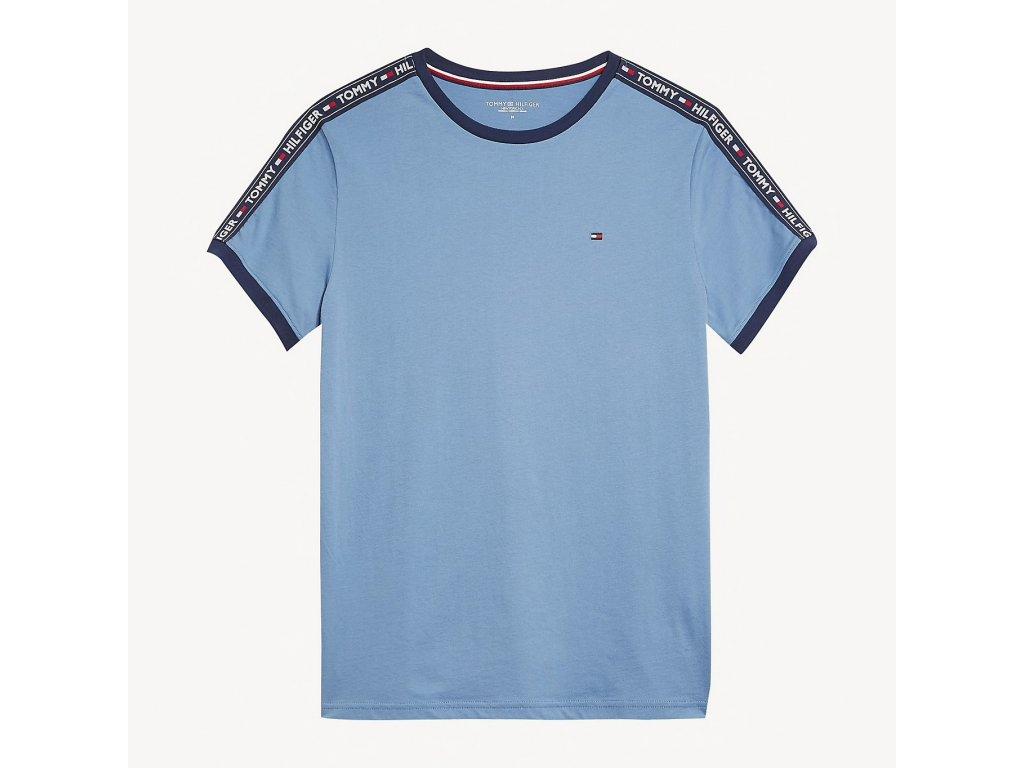 Pánské tričko Tommy Hilfiger modré UM0UM00562_450 (LOGO TAPE T-SHIRT TH)