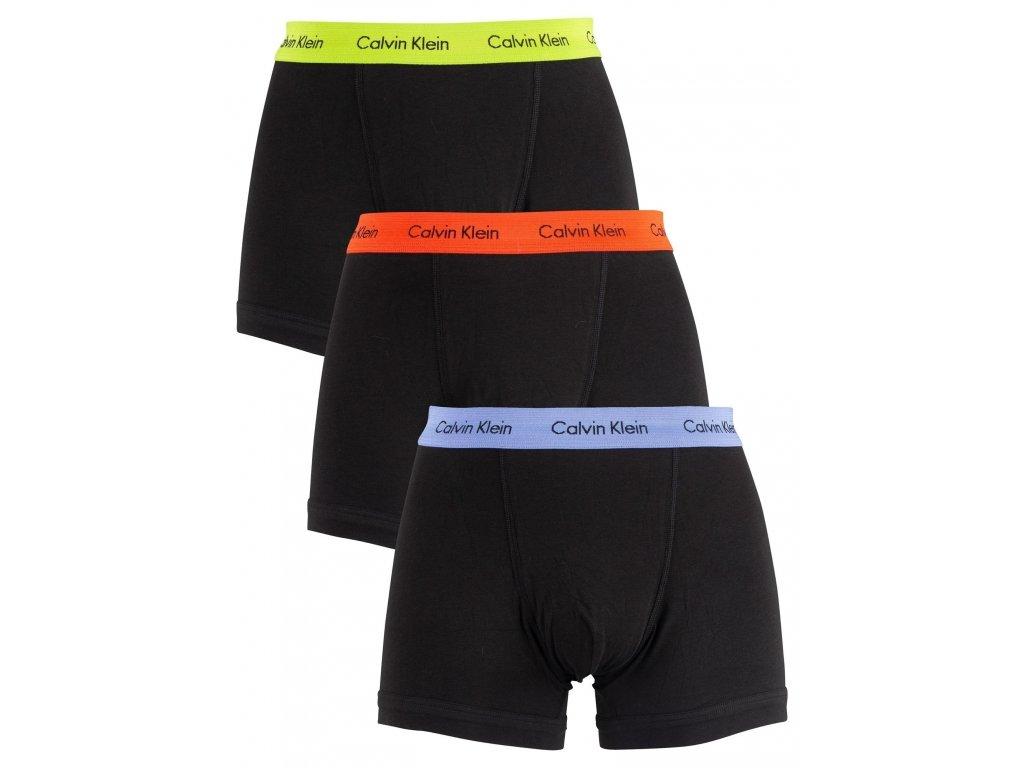 CK 3KS BALENÍ Boxerek se středně dlouhou nohavičkou Calvin Klein černé + barevná guma ( 3pack trunks U2662G gmp)