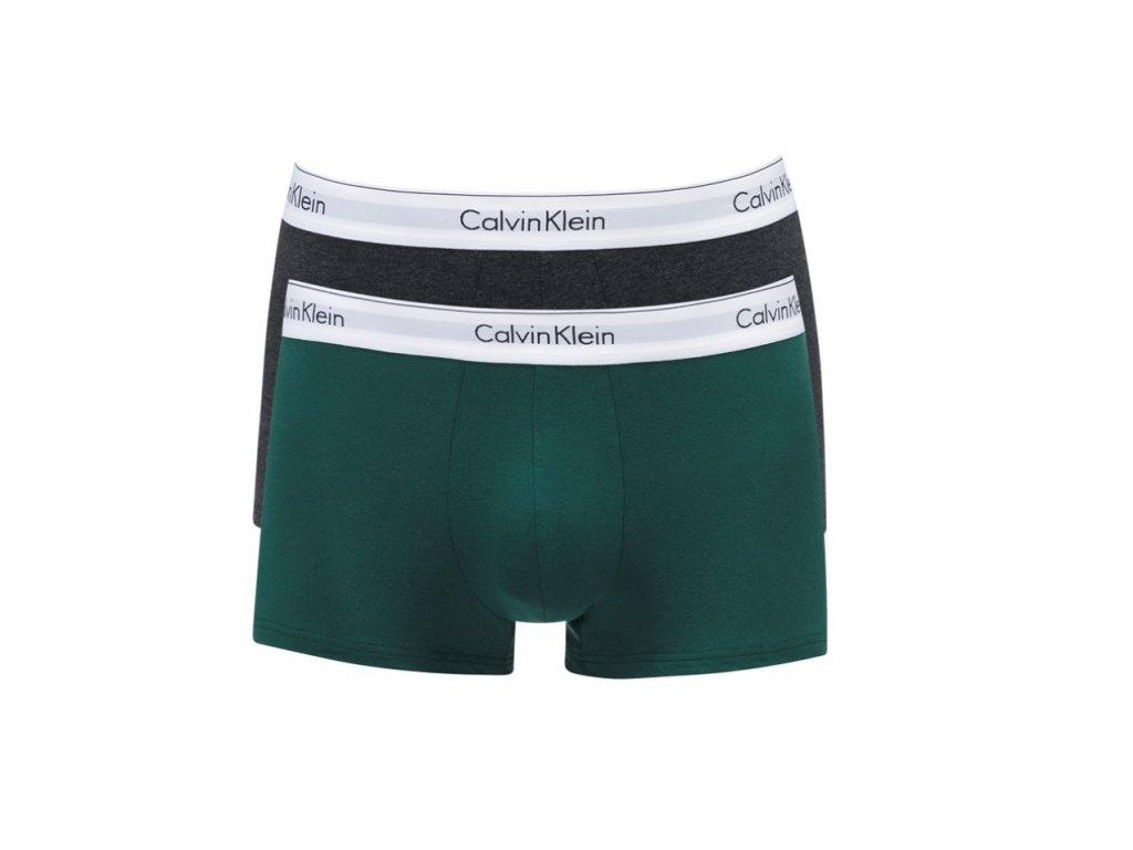 Calvin Klein 2ks balení - boxerek modern cotton stretch s krátkou nohavičkou šedé a zelené s bílou gumou ( NB1086A_KKW / 000NB1086A_KKW )