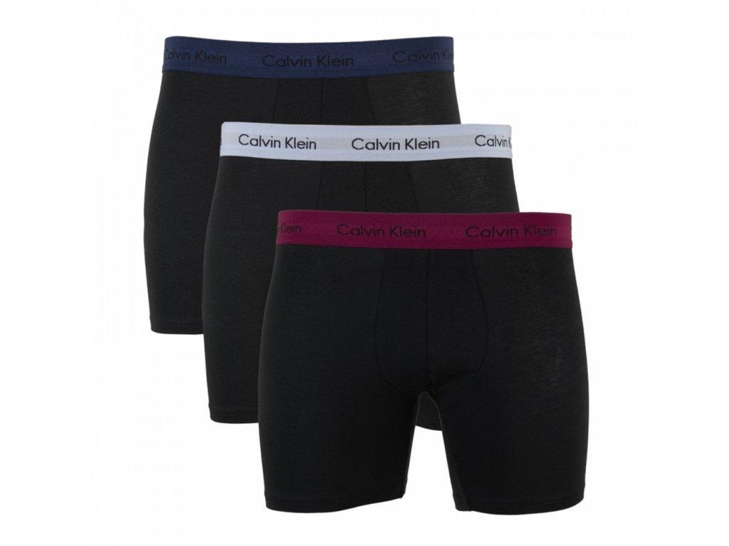 Calvin Klein  3KS BALENÍ Boxerek s dlouhou nohavičkou černé + barevná guma ( NB1770A RVN)