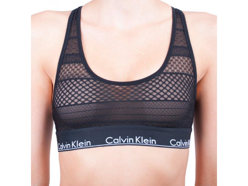 Calvin Klein podprsenka - Bralettka - Modern Cotton - Limitovaná kolekce Průhledná krajka - černá QF4640E-00
