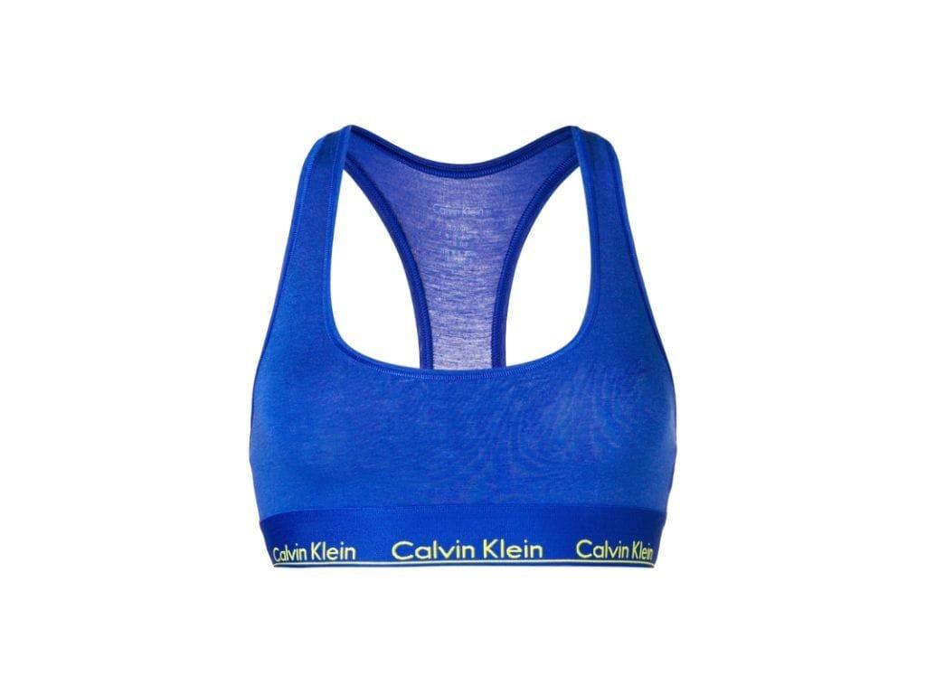 Calvin Klein limitovaná kolekce  Dámská podprsenka  Modern cotton Bralette modrá s žlutým logo nápisem F3785E-PZ6