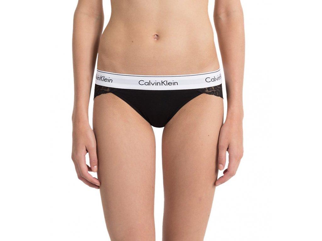 Krajkové kalhotky/bikini s přední bavlněnou částí Calvin Klein limitovaná kolekce černé CK QF4584E 001