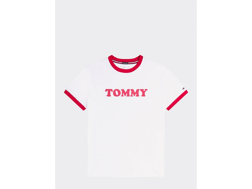 Tommy Hilfiger Pánské tričko z Organické bavlny z limitované kolekce v retro stylu - červeno bílé UM0UM01620 100 (LOGO ORGANIC COTTON T-SHIRT TH)