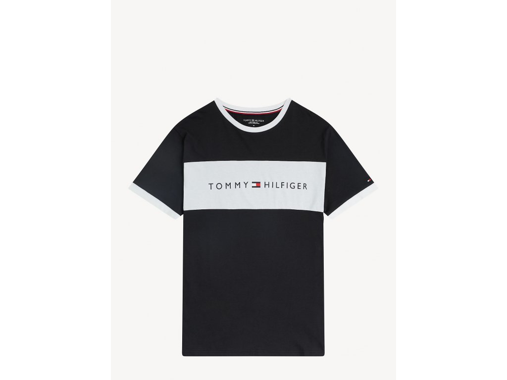 Tommy Hilfiger Limitovaná kolekce z Organické bavlny pánské tričko - černo - bílé UM0UM01170 990 (FLAG LOGO CREW NECK T-SHIRT TH)