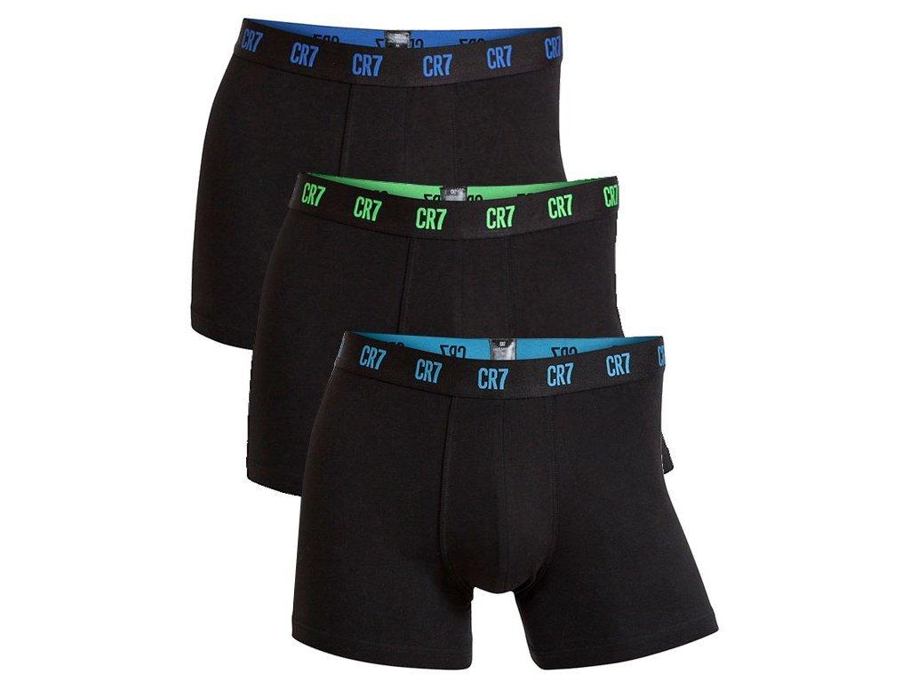 CR7 limitovaná kolekce 3pack vyšších boxerek s delší nohavičkou černé s černou gumou s barevným logem 8100-49-641