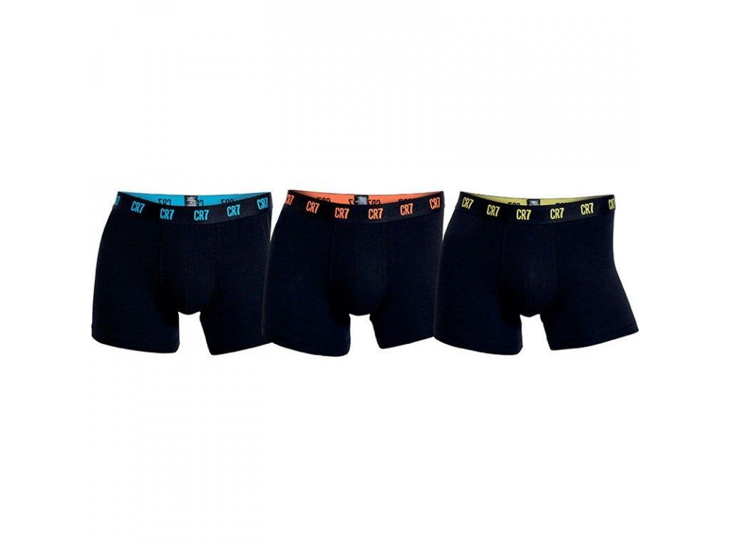 CR7 limitovaná kolekce 3pack vyšších boxerek s delší nohavičkou černé s černou gumou s barevným logem 8100-49-639