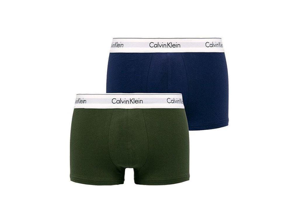 Calvin Klein 2ks balení - boxerek modern cotton stretch s krátkou nohavičkou modré a zelené s bílou gumou ( NB1086A MXD / 000NB1086A MXD )