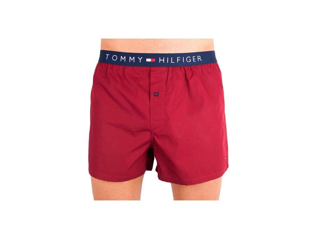 Tommy Hilfiger pánské trenýrky Bordó 100% popelín  - limitovaná kolekce - ICON Boxer woven (UM0UM00099 621)