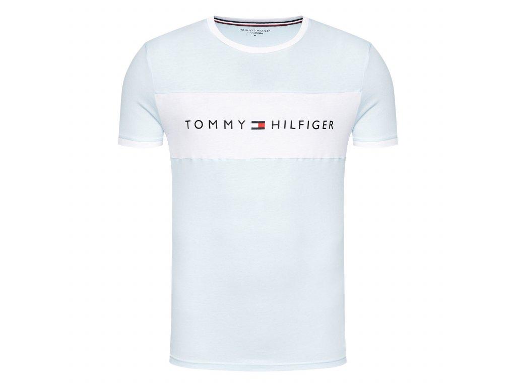 Tommy Hilfiger Pánské tričko Limitovaná kolekce z Organické bavlny baby blue UM0UM01170 XLG (TEE LOGO FLAG TH)