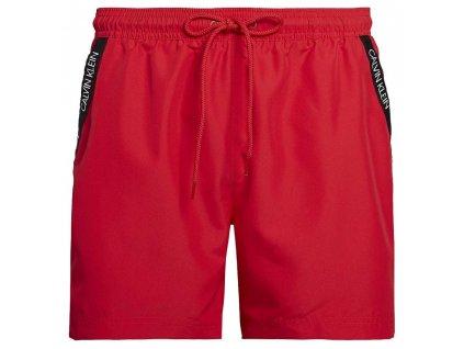 Pánské Plavky Calvin Klein Střední délka červené (lipstick red KM0KM00285 654) Medium Drawstring