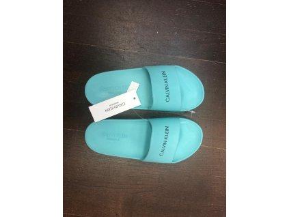 """Calvin Klein Unisex Pantofle tyrkysové KK0KK00035 (""""holčičí/klučičí cukle"""")"""