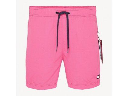 Tommy Hilfiger pánské plavky slim fit - střední délka nohavic - růžové (UM0UM01080_501 medium DRAWSTRING SLIM FIT SWIM SHORTS)