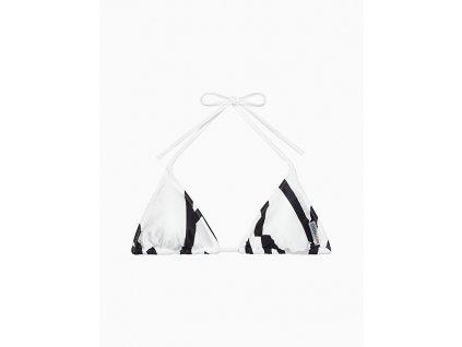 Calvin Klein Dámský plavkový vršek - posunovací trojúhelník - bílý ( CK TRIANGLE BIKINI TOP - CORE ABSTRACT KW0KW00551_144 )