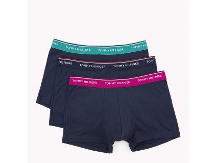 Tommy Hilfiger 3KS BALENÍ Boxerek se středně dlouhou nohavičkou - TMAVĚ MODRÉ S barevnou gumou (TH 3PACK Trunk 1U87903842 063)