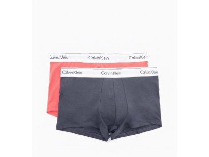 Calvin Klein 2ks balení - boxerek modern cotton stretch s krátkou nohavičkou šedé a lososové s bílou gumou ( NB1086A_KGQ / 000NB1086A_KGQ )