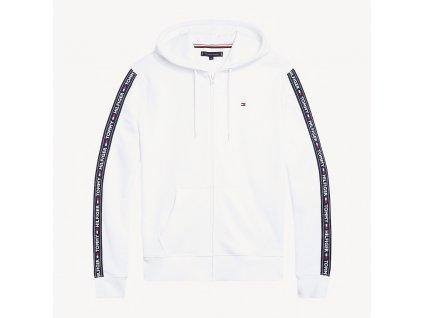 Tommy Hilfiger Pánská mikina na zip s kapucí bílá - TH Hoodie ls hwk UM0UM00708 100