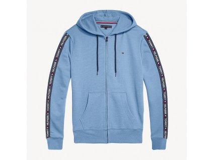 Tommy Hilfiger Pánská mikina na zip s kapucí modrá - TH Hoodie ls hwk UM0UM00708 415 LOGO TAPE HOODY