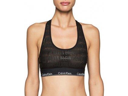 Calvin Klein podprsenka - Braletka - Modern Cotton - Limitovaná kolekce Censored Logo - černá - qf1879e-ej1 - black zepředu