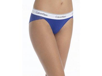 Krajkové kalhotky/bikini s přední bavlněnou částí Calvin Klein limitovaná kolekce modré CK QF4584E PZ6