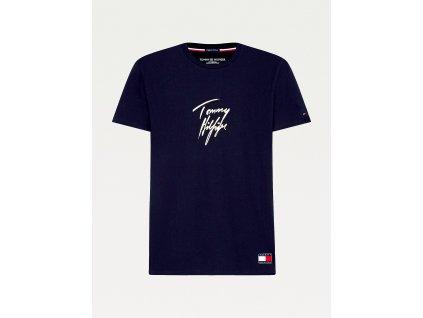 Tommy Hilfiger Limitovaná kolekce z Organické bavlny pánské tričko - modré UM0UM01787 DW5 ( SIGNATURE LOGO ORGANIC COTTON T-SHIRT TH)