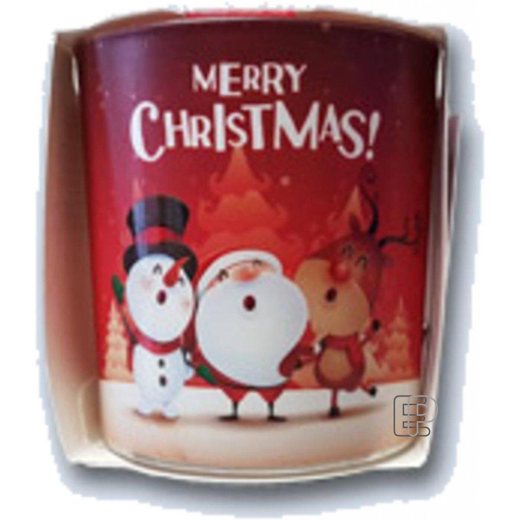 Vánoční svíčka aroma ve skle Merry Chris balení 6ks