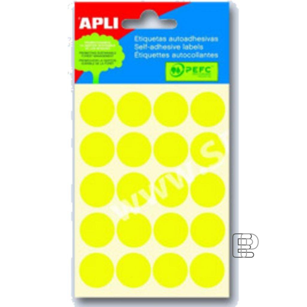 SLE Apli kulaté 19mm žluté 100 etiket