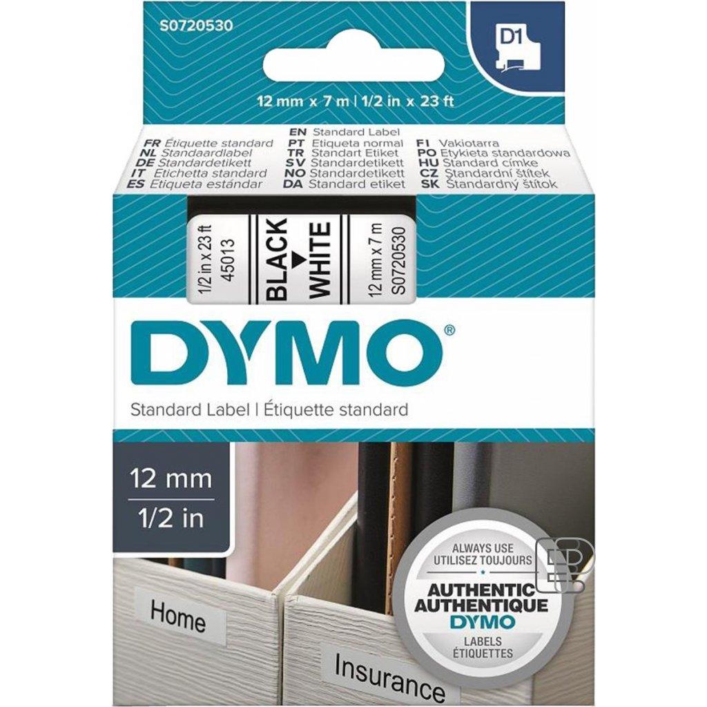 Dymo páska 12mm 45013 Černá/bílou