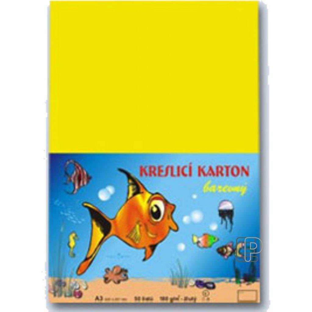 Karton A3 žlutý 180g.  50 listů