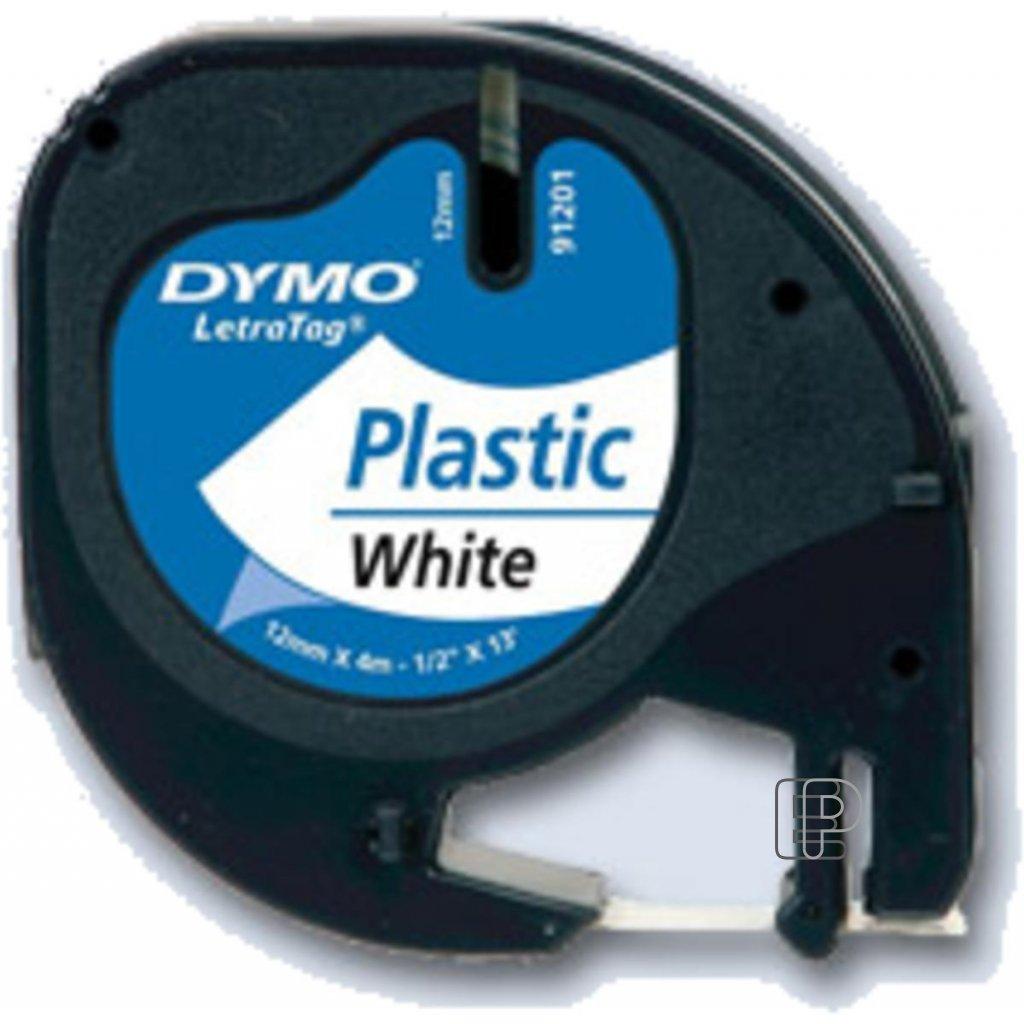 Dymo páska letratag 12mm/4m bílá plast.