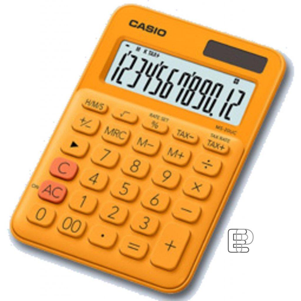 Kalkulačka Casio MS20UC oranžová 100x148