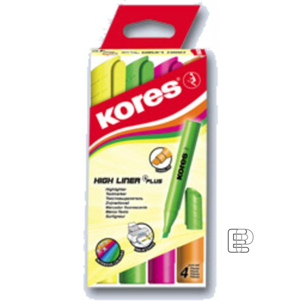 Zvýrazňovač sada Kores High Plus 4ks