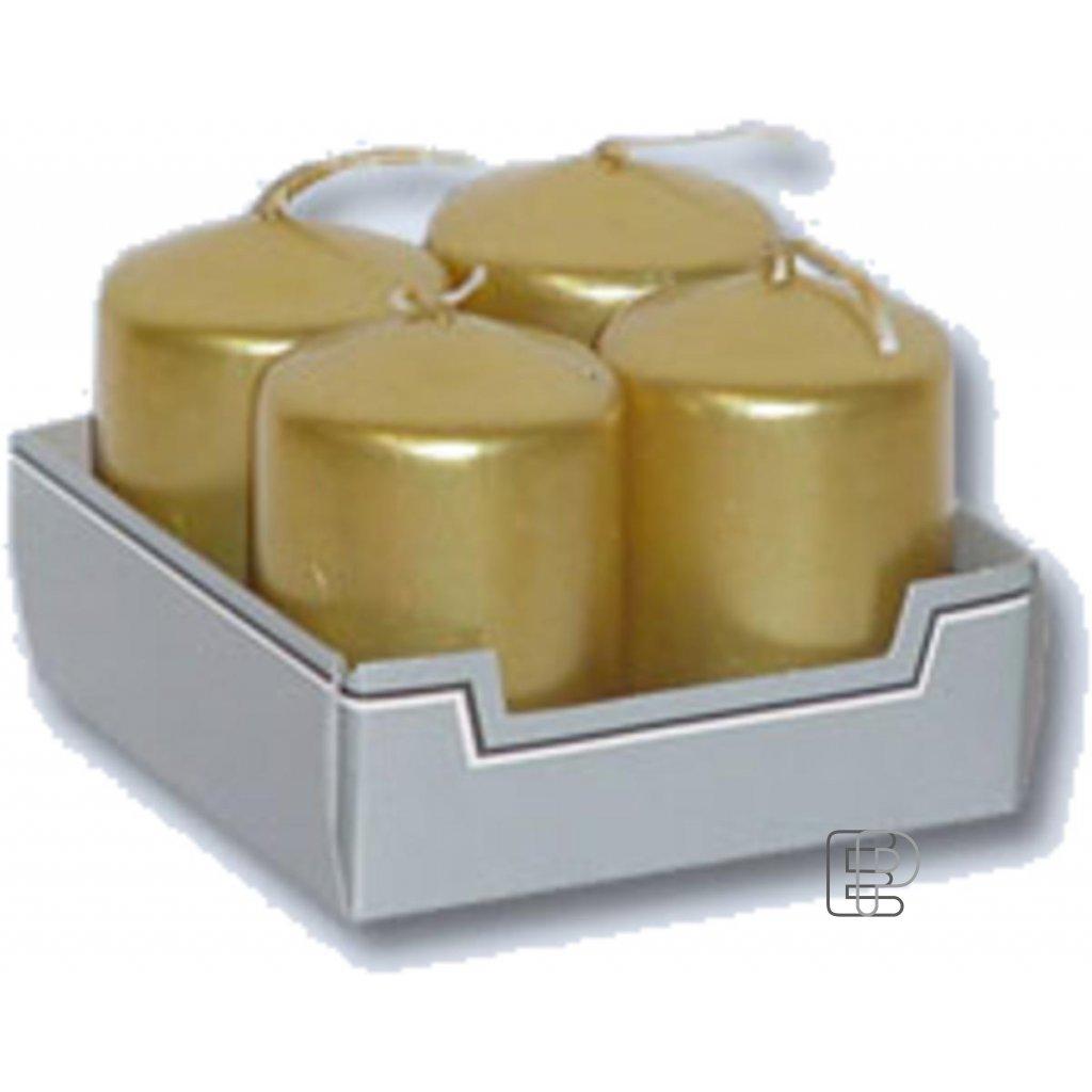Vánoční svíčka advent zlatá metál.4ks