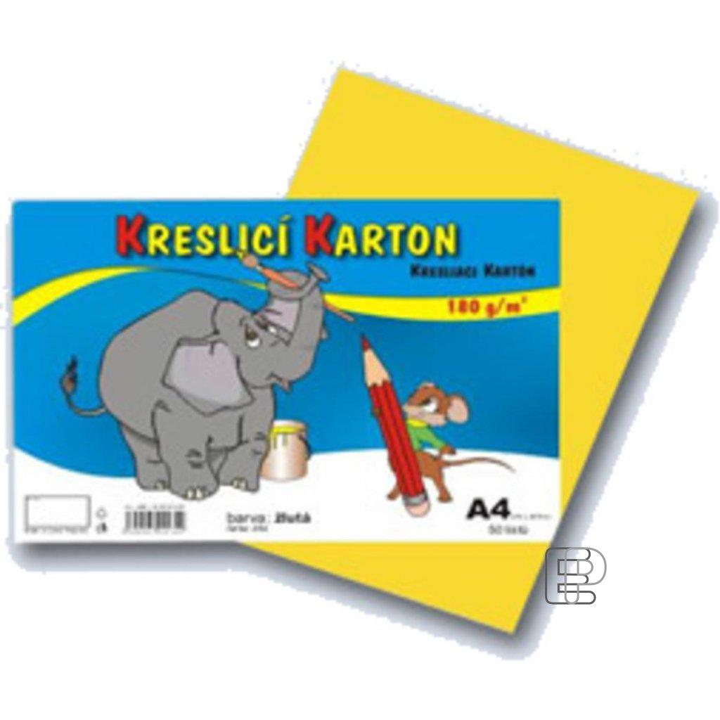 Karton A4 žlutý E 180g.  50 listů